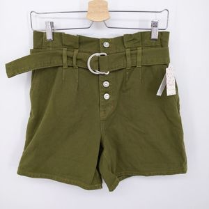 Free People Cindy Utility Shorts Green High Waist
